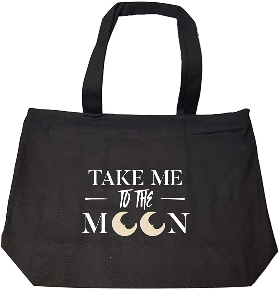Take Me To The Moon Cool Creative Design Fashion Zip Tote Bag
