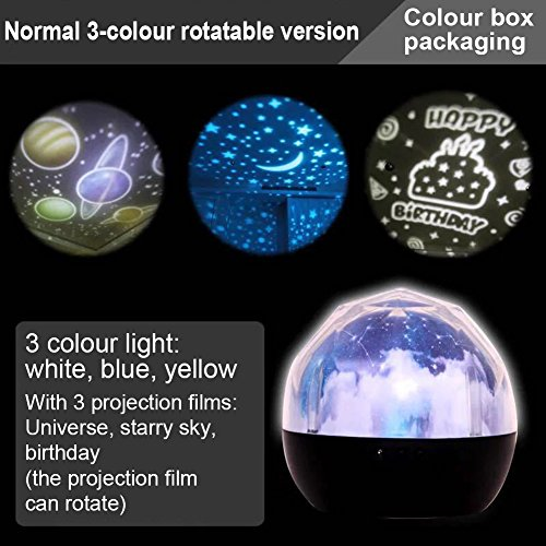 Accreate Projection Lamp USB Chargeable Colourful Whirling Projection Lamp Decoration (with Birthday & Starry Sky & Universe Projection Film) by Accreate (Image #1)