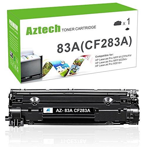 Aztech 1 Pack Compatible Black Laser Jet CF283A 83A Toner Cartridge for Laserjet Pro MFP M127fw M225dw M225dn M127fn M201dw M125nw M125a M201n Printer Ink (Hp 83a Toner)