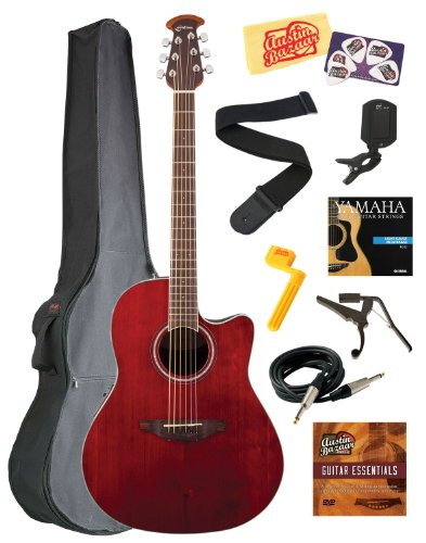 Ovation CS24-RR Celebrity Standard Mid-Depth Cutaway Acoustic-Electric Guitar Bundle with Gig Bag, Instrument Cable, Strings, Strap, Tuner, Capo, String Winder, Picks, Instructional DVD, and Polishing Cloth - Ruby Red