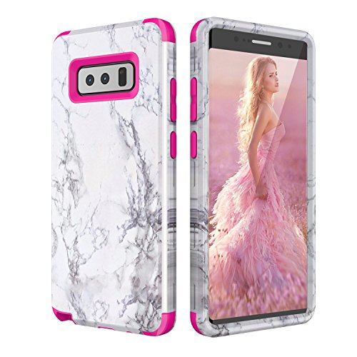 Samsung Galaxy Note 8 Case, Daker White Marble Design Clear Bumper Glossy TPU Soft Rubber Silicone Cover Phone Case for Galaxy Note 8 (Rose Red)