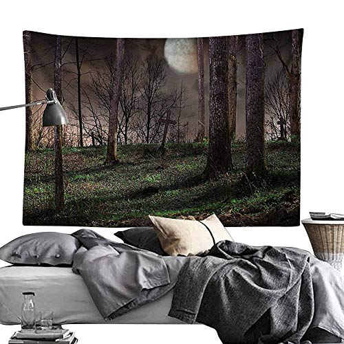 Commemorative Tapestry Gothic Decor Collection Dark Night in The Forest with Full Moon Horror Theme Grunge Style Halloween Photo Tapestry for Room W90 x L59 Brown Green Yellow -