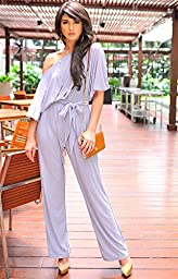 KOH KOH Plus Size Womens One Shoulder Short Sleeve Versatile Jumpsuit Playsuit Romper Keyhole Belted pants suits Elegant Cocktail Party Overall, Color Ivory White, Size Extra Large XL 14-16