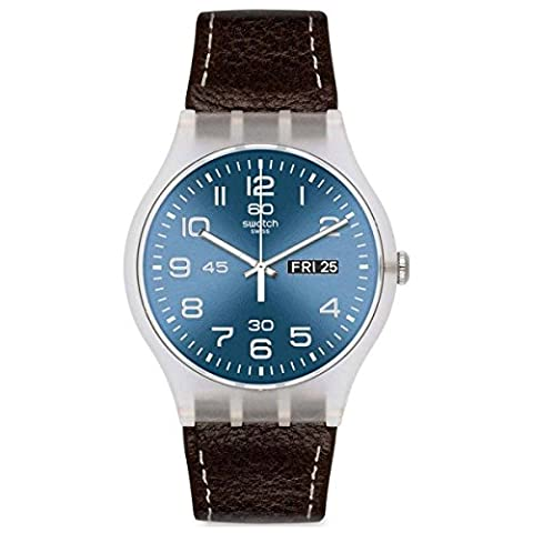 Swatch Daily Friend Blue Dial Plastic Brown Leather Quartz Men's Watch SUOK701 (Sport Swatch Men)