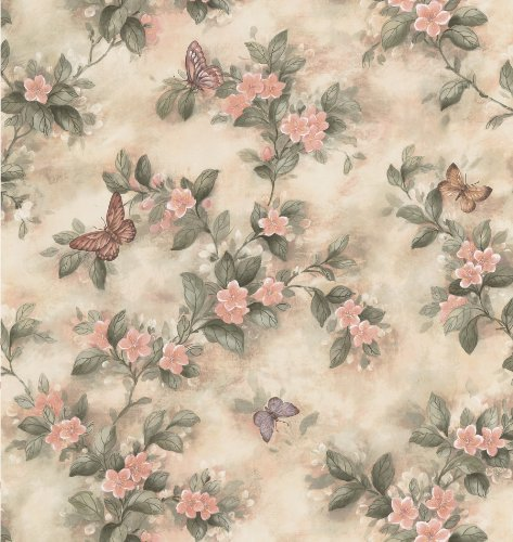 (Brewster 414-38573 Mariposa Pink Butterfly And Floral Trail Wallpaper)