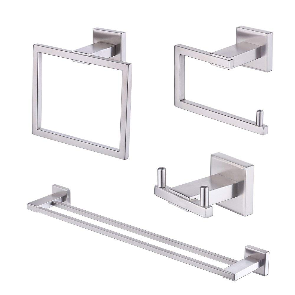 Kes Bathroom Accessories Set SUS 304 Stainless Steel 4-Pieces Including Double Towel Bar Toilet Paper Holder Towel Ring Robe Hook Brushed Finish Wall Mount No Drill Self Adhesive Glue, LA242DG-43