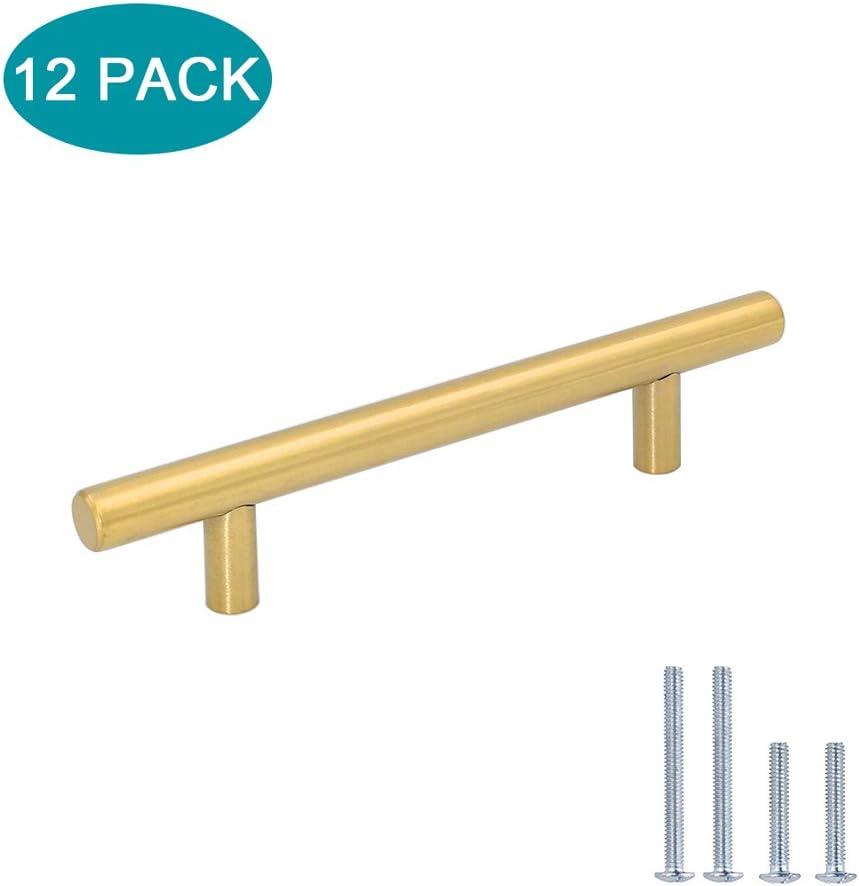 Lontan LH201GD T/ürgriffe f/ür K/üchenschr/änke Edelstahl T-Griff Schubladengriffe 12 St/ück gold Metall