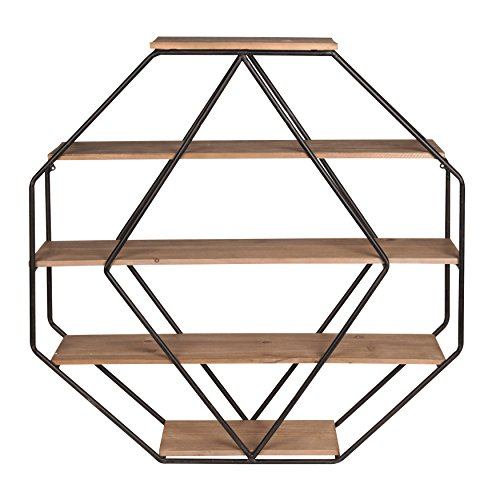 Kate and Laurel Lintz Wood Octagon Floating Wall Shelves, Rustic Brown/Black (Bookshelf Circle Wall)