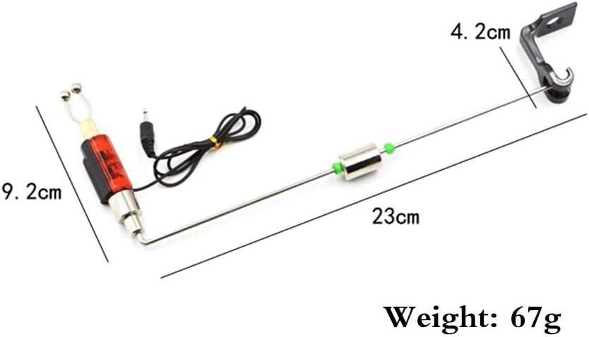 LED Illuminated Indicator Fishing Tackle Tools Leezo Fishing Alarm Iron Fishing Bite Hanger Swinger Fishing Fish Bell with Adjustable Clip