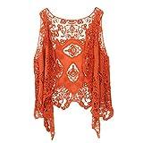 Jastie Open Stitch Cardigan Boho Hippie Butterfly Crochet Vest (Pumpkin)