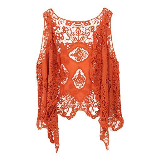 jastie Open Stitch Cardigan Boho Hippie Crochet Vest (Pumpkin)