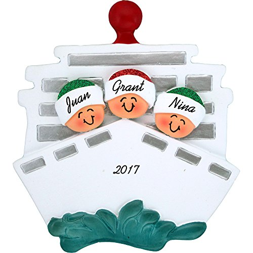 (Cruise Ship Personalized Christmas Ornament - Family of 3 - Handpainted Resin - 4.5