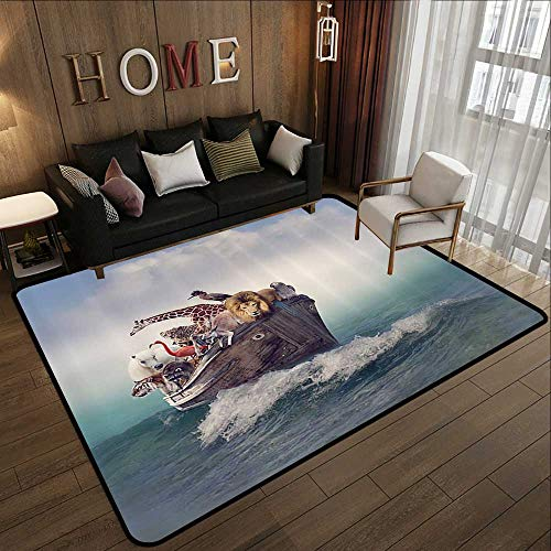 Printed Carpet,Noahs Ark Decor Collection,Collection of Animals and Birds in an Old Boat Adventure Waves Foggy Ocean Image,Ivory Grey 35