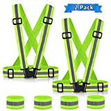 Reflective Vest (2 Pack) for Running or Cycling, Adkwse Safety Vest Outdoor reflective running gear, Lightweight | Adjustable Comfy | High Visibility + 4 Reflective Wristbands