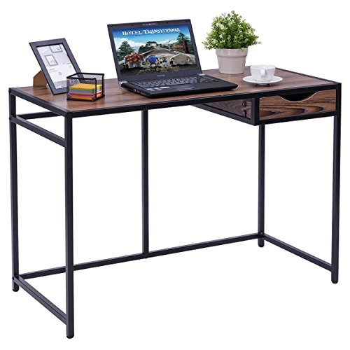 Tangkula Computer Desk Home Office Metal Frame Compact Heavy Duty Laptop PC Desk Writing Table by Tangkula