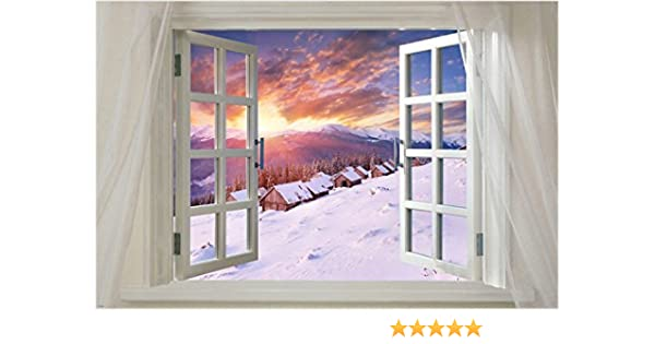 Window onto beautiful Lake SCENIC POSTER 24X36 water reflection BLUE SKY