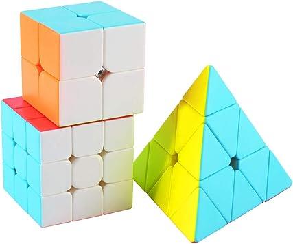TOYESS Speed Cube Set Stickerless, Cubo de Velocidad 3x3 Stickerless+Cubo Mágico 2x2+Pyraminx Piramide 3x3, Rompecabezas Puzzle Juguetes para Adulto & Niños(3 Pack): Amazon.es: Juguetes y juegos