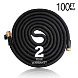 Hongmai 100ft Expandable Garden Hose - New Water Hose for All Watering Needs, Heavy Duty Leakproof Connector& Double Latex Core& Extra Strength Fabric Protection - Flexible Watering Hose (Black)