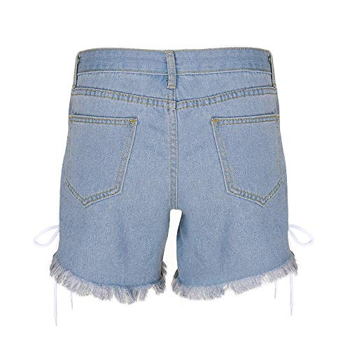 Denim Abertura Con Mujer Elástico Bandage Npradla Tendencia Pantalón Jeans Moda Ripped Para Vaqueros Azul Corto Casual nwxqgfBv