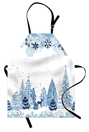 Ambesonne Winter Apron, Winter Scene with Deer Frozen Trees and Snow Christmas Season Pine Trees Bushes, Unisex Kitchen Bib Apron with Adjustable Neck for Cooking Baking Gardening, Blue White ()