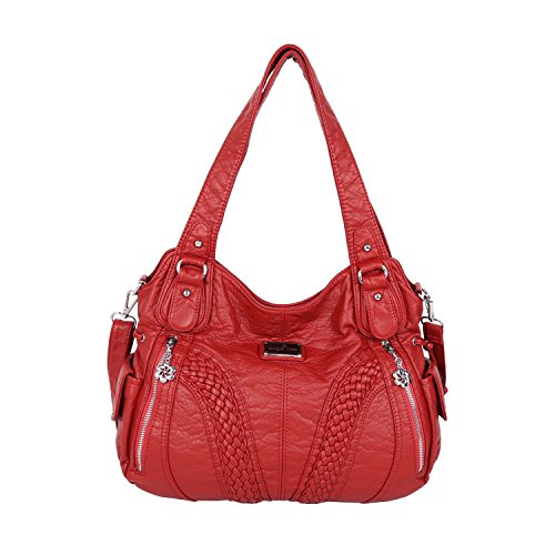 Angelkiss Women Top Handle Satchel Handbags Shoulder Bag Messenger Tote Washed Leather Purses Bag (RED) ...