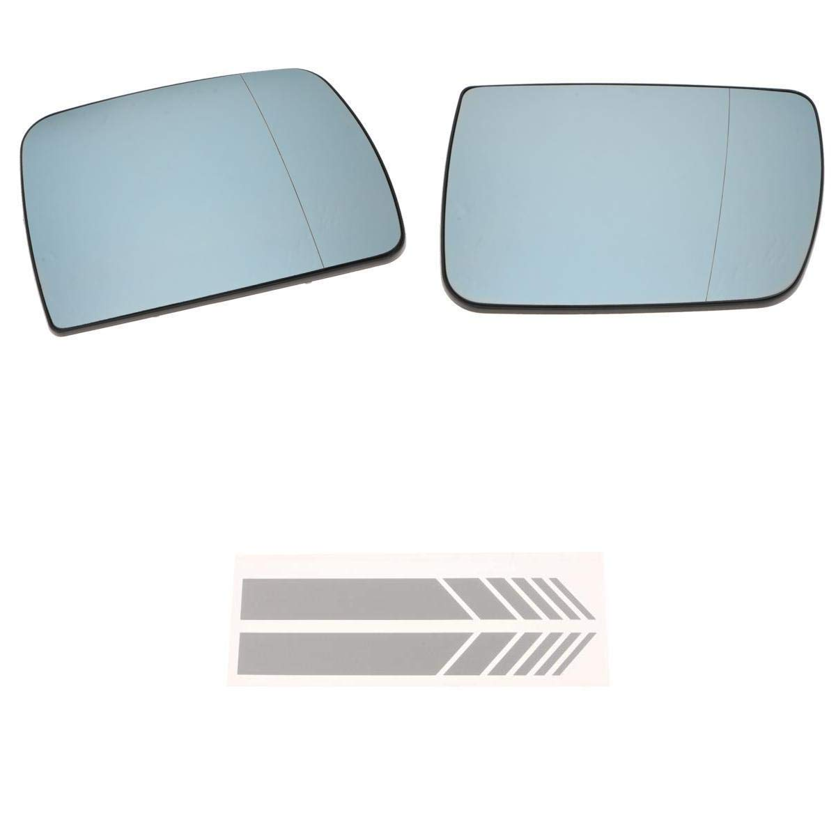 KESOTO 2X Driver Passenger Both Side Replaceable Heated Mirror Glass +Mirror Stickers