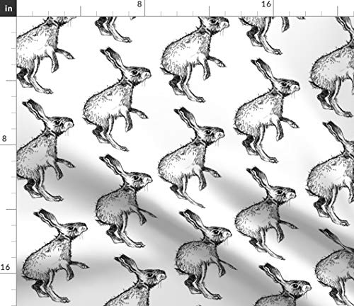 Spoonflower Bunny Fabric - Easter Decor Animals Black and White Jack Rabbit Nature Nursery by Taraput Printed on Modern Jersey Fabric by The Yard