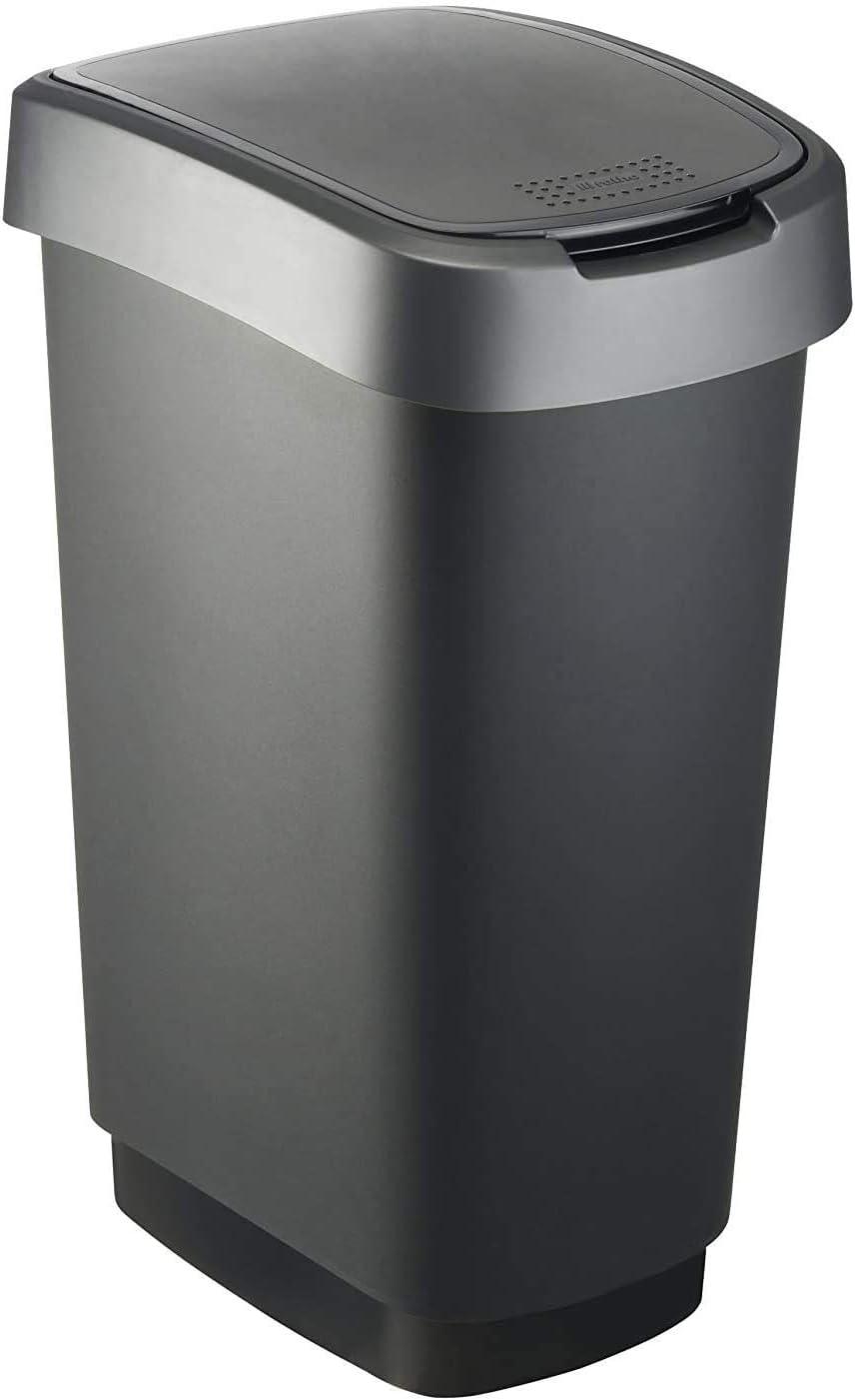 Rotho Twist, Cubo de basura de 50l con tapa, puede ser usado como tapa abatible o con bisagras, Plástico PP sin BPA, negro, plateado, 50l 40.1 x 29.8 x 60.2 cm