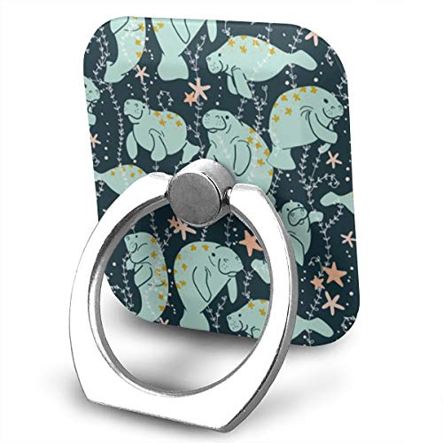 (Phone Finger Ring Spearmint Green Manatee 360 Degree Rotation Foldable Set Compatible with Most of Smartphones Tablet and Case Sold)