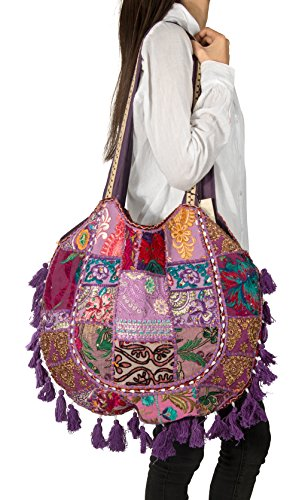 Casual Colorful Patchwork Hippie Woman Bag Tote Canvas Beach Shoulder Handbag