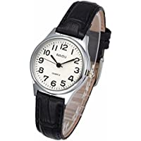 Top Plaza Womens Leather Watch,Fashion Casual Silver Watches for Women,Waterproof Quartz Ladies Black Wrist Watch