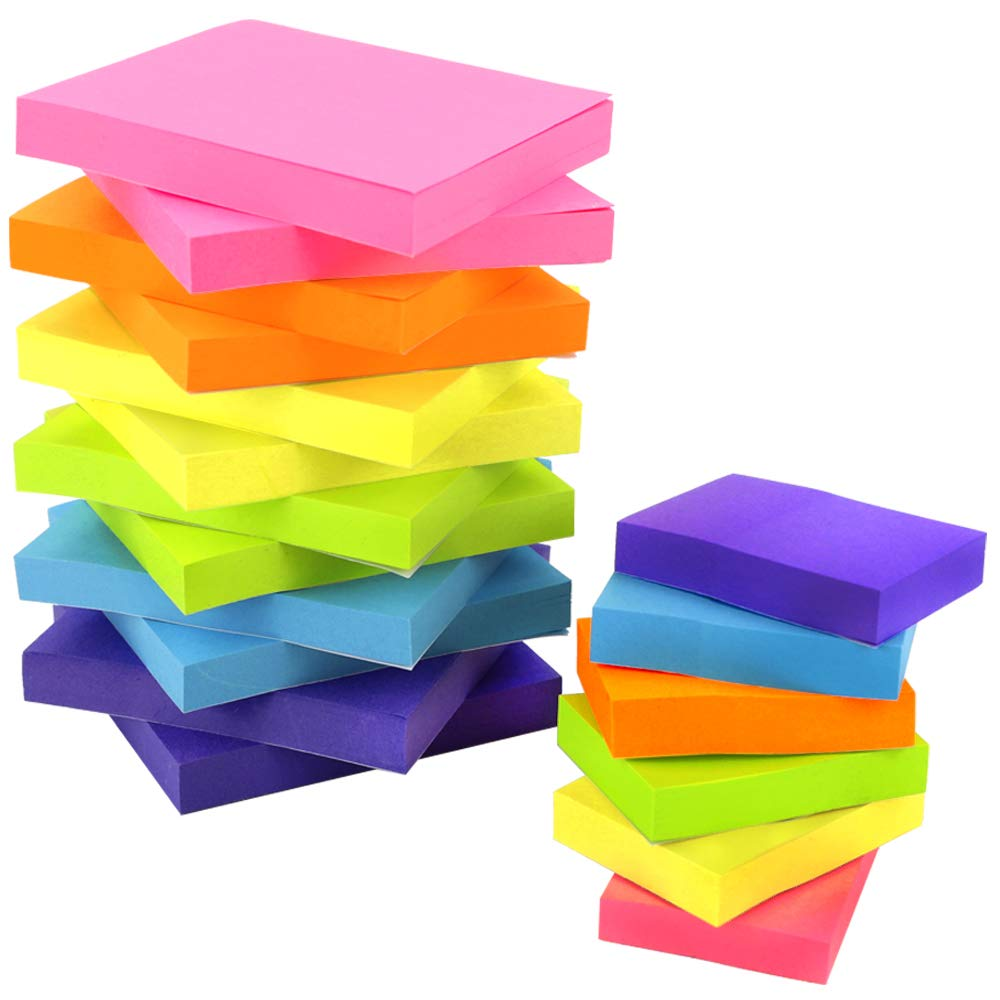 JPSOR Sticky Notes Set, Colorful Self-Stick Pads, 12 Pads 3''x3'', 6 Pads 2''x1.5'', 6 Colors, 100 Sheets/Pad