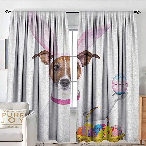 Blackout Thermal Insulated Window Curtain Valance Easter,Dog Dressed up as Easter Bunny Holding a Basket of Eggs Funny Animal Illustration, Multicolor,Rod Pocket Valances 54