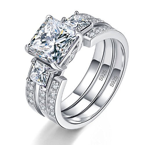 Vvs2 Ring (BONLAVIE Women's 925 Sterling Silver 3ct White Cubic Zirconia Three Stone Engagement Anniversary Ring Size 8)