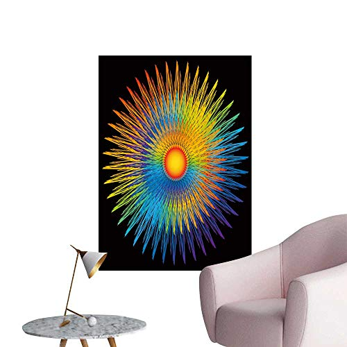 SeptSonne Wall Stickers for Living Room Rainbow Sunburst Vinyl Wall Stickers Print,24