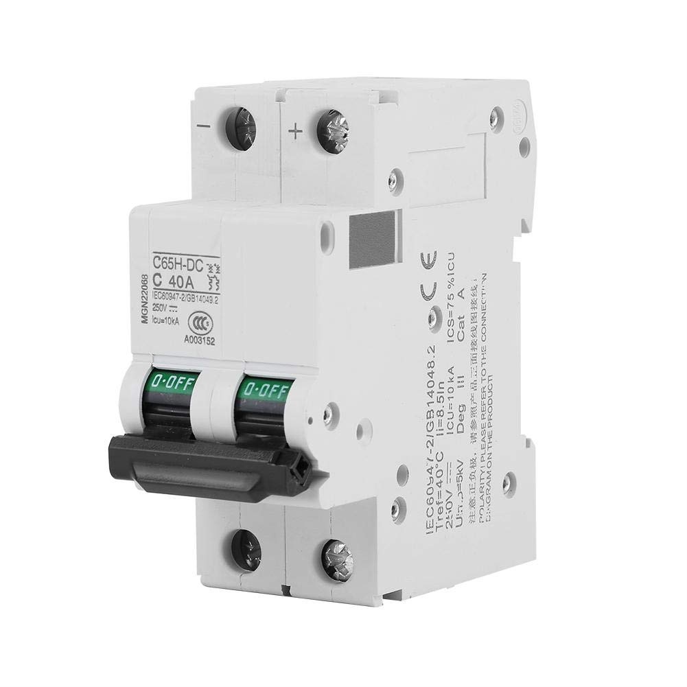 2P C65H-DC 250V 25A/40A Low-Voltage DC Miniature Circuit Breaker for Solar Panels Grid System White((40A)) Walfront