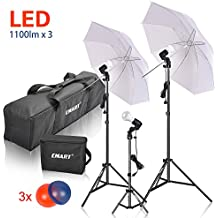 Emart Studio LED Photography Umbrella Lighting Kit, 3 x 15W 5500K LED Photo Lights for Camera Lighting, Continuous Lighting, Portrait Video Shooting – Umbrella Reflector Light