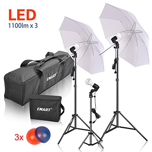 Emart Studio LED Photography Umbrella Lighting Kit, 3 x 15W 5500K LED Photo Lights for Camera Lighting, Continuous Lighting, Portrait Video Shooting – Umbrella Reflector Light