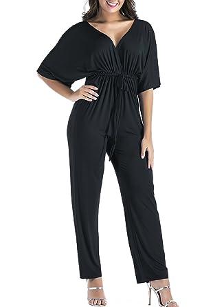50467134179 VINCINEY Women s Plus Size V Neck Wrap Tie Waist Long Pant Casual Rompers  Jumpsuit L Black