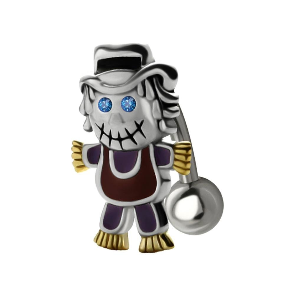 BodyJewelleryShop Reverse Silver and Steel Belly Bar Zombie Scarecrow 10mm