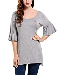 Meaneor Women's Casual 3/4 Flared Sleeve Scoop Neck Solid Loose Fit Tunic Tops