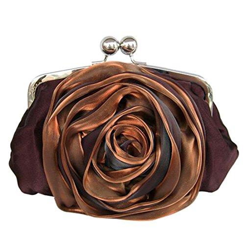 YYW Silk Clutch Bag - Cartera de mano para mujer marrón