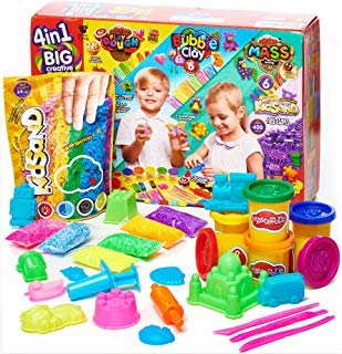 MagToys Play Sand Kit - Polymer Modeling Clay Set - Sand Molds Tools and Accessories