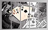 XXL WALL ART US552000412 POKER GAMBLE CANVAS 5 PANELS KingSIZE 59 x 39.5 inch Ready to Hang Decor Hand-made with Passion