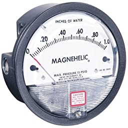 Dwyer Magnehelic Series 2000 Differential Pressure Gauge, Range 0.05-0-0.20\