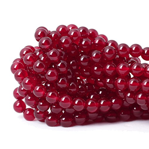Handmade Red Agate (Qiwan 45PCS 8mm claret-red Agate Round Beads Gemstone Crystal Energy Stone Healing Power for Jewelry Making handmade materials 1 Strand 15