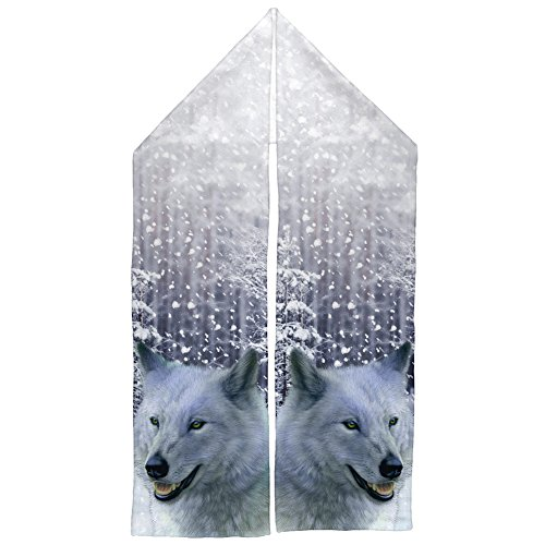 Winter Snow Wolf Warm Fleece Scarf