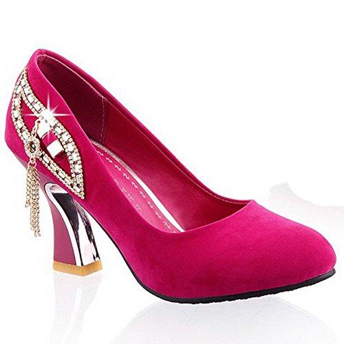 34 Mit Plateau Größe Damen Rot Keilabsatz Sandalen Durchgängies Pink Adee IxSwBzPI
