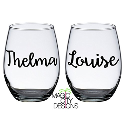 THELMA AND LOUISE BLACK STEMLESS WINE GLASS SET. BESTIES WINE GLASS