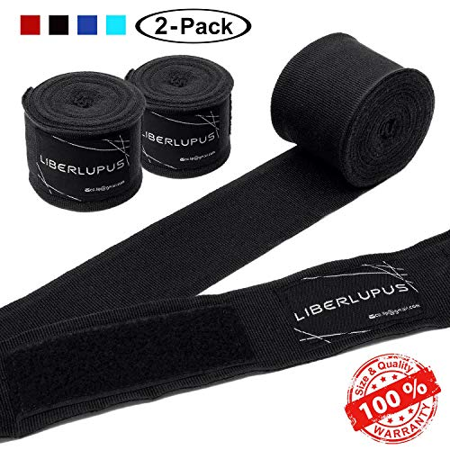 Liberlupus 120''/180'' Boxing Hand Wraps for Men & Women, Elastic Hand Wraps for Boxing Gloves, Handwraps with Hand & Wrist Support for Boxing Kickboxing Muay Thai MMA (Black 2-Pair, 180 inch) (Best Boxing Gloves For Small Hands)